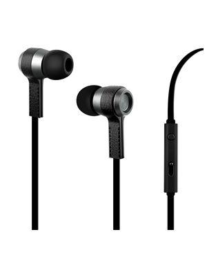 Slušalke z mikrofonom usnjene črne